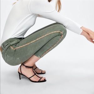 Zara Sparkly Side Stripe Mid-Rise Skinny Jeans